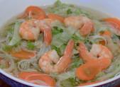 Soupe Vietnamienne aux crevettes et vermicelles